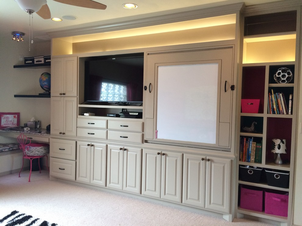 Transitional home theater photo in Dallas