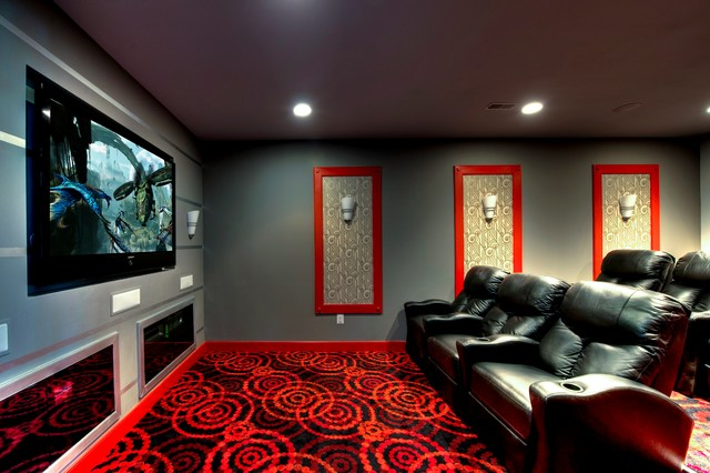 Ruby Dottie Joy Carpet Theater Room Modern Home Dc Metro By Beauchain Builders Inc
