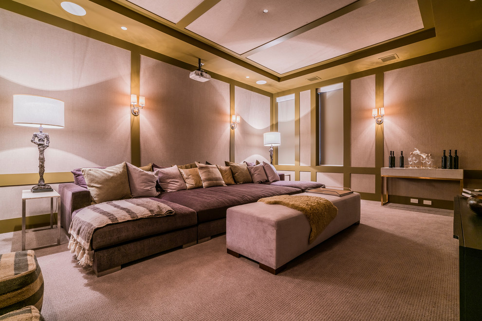 Inspiration for a transitional home theater remodel in Los Angeles