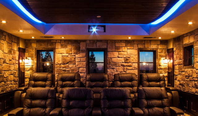 Rustic Home Movie Theater By