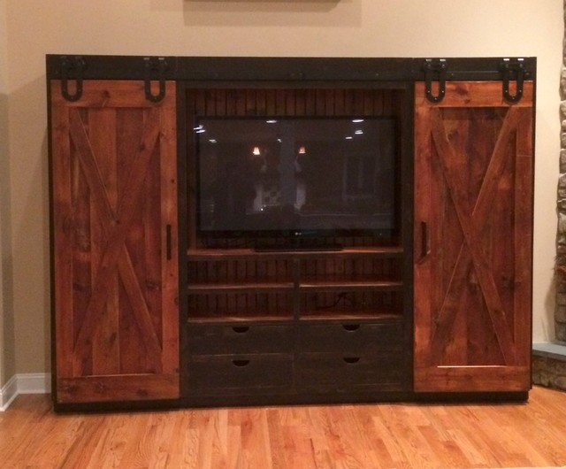 Entertainment Cabinet with barn doors - Rustic ...