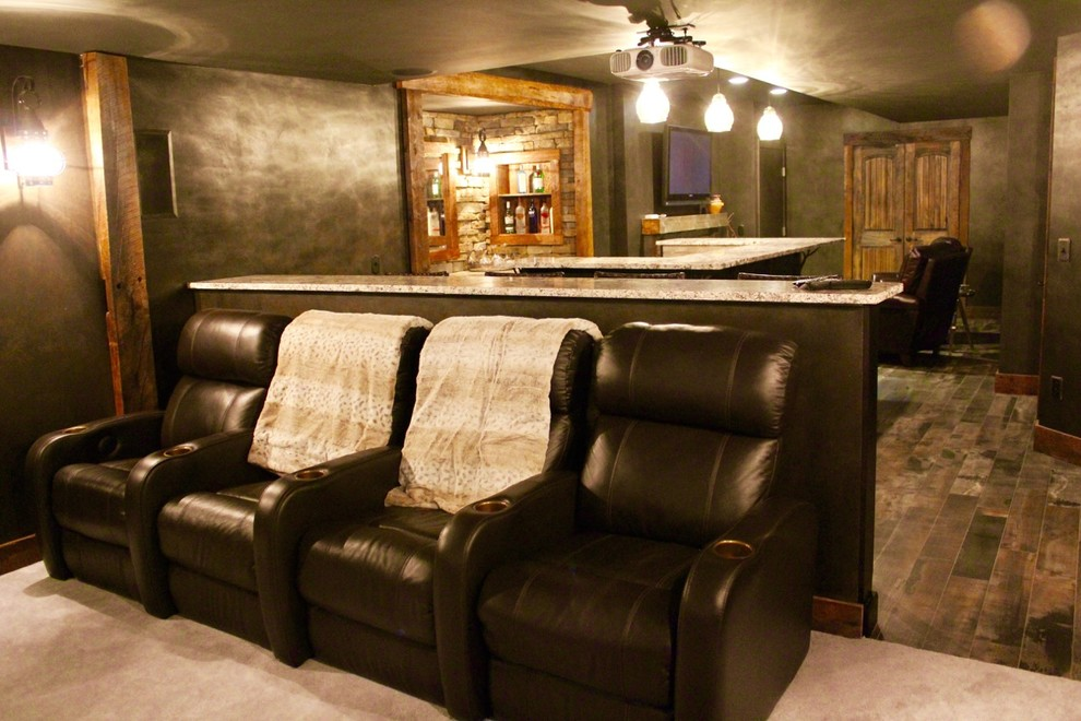 Inspiration for a mid-sized rustic enclosed porcelain tile and brown floor home theater remodel in Boston with gray walls and a projector screen