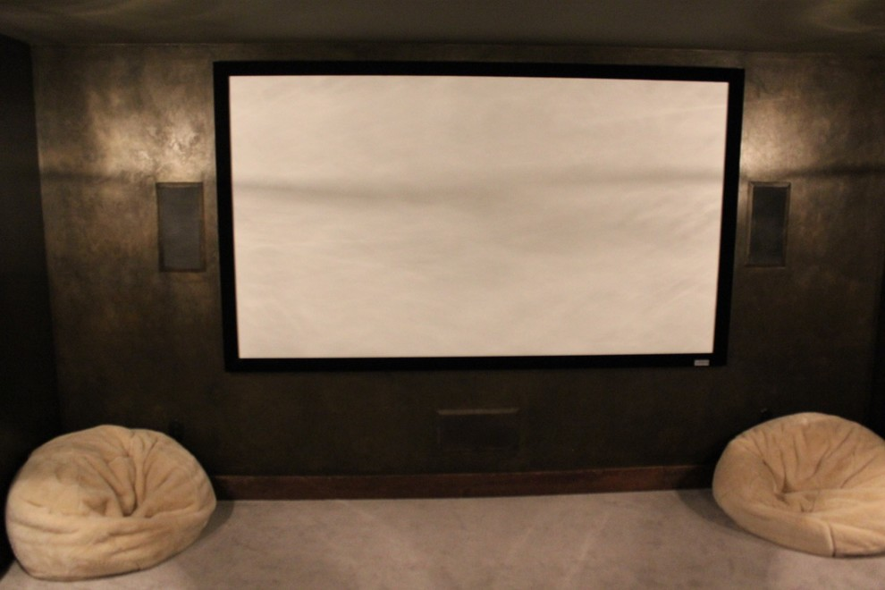 Example of a mid-sized mountain style enclosed porcelain tile and brown floor home theater design in Boston with a projector screen and gray walls