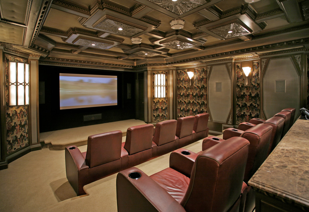 Inspiration for a timeless home theater remodel in New York