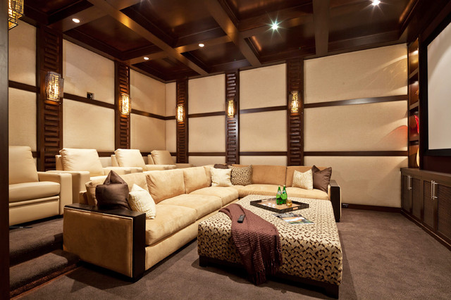 Example of a trendy gray floor home theater design in San Diego with a  projector screen. Brown Carpet   Houzz