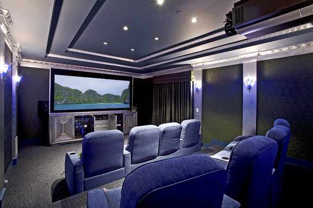 Attractive Inspiration For An Eclectic Home Theater Remodel In Santa Barbara With A  Projector Screen