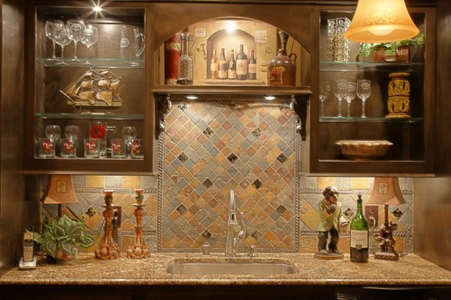 Scott Yates Basement Bar Splash - traditional - media room ...