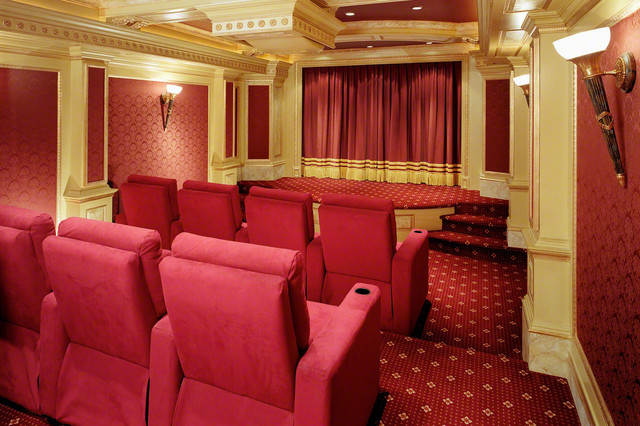 Screening Room With Camouflage Projector traditional-home-theater