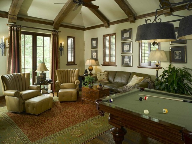 Sea Island Home traditional-home-theater