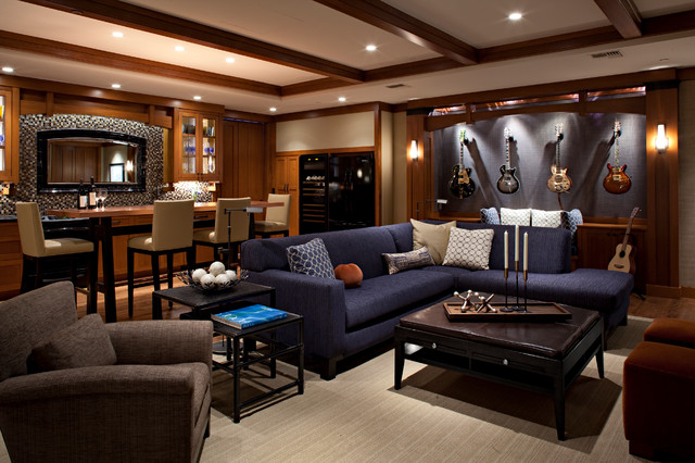 Seattle Man Cave traditional-home-theater