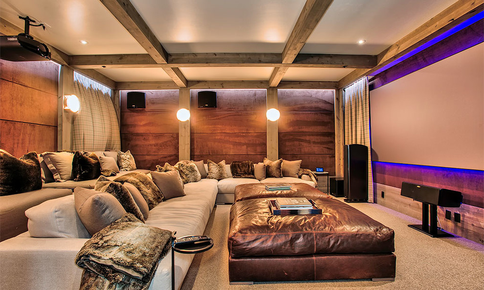 Inspiration for a rustic home theater remodel in Other with a projector screen