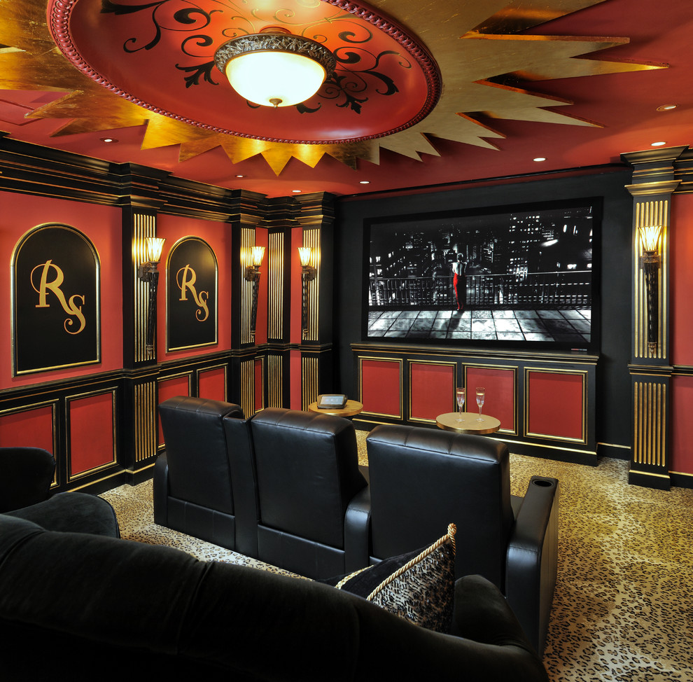 Mid-sized elegant carpeted home theater photo in Houston with red walls and a wall-mounted tv