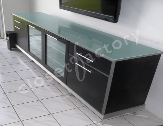 Sleek Modern Black And Metallic Media Cabinet Ft Lauderdale Contemporary Home Cinema