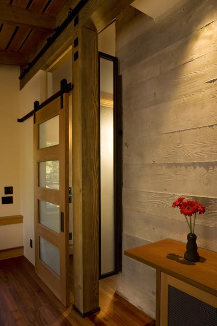 sliding door to media room rustic home theater architects sliding door office