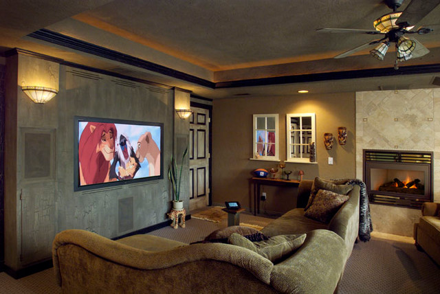 Small jungle theater traditional home theater boise for Living room jungle gym