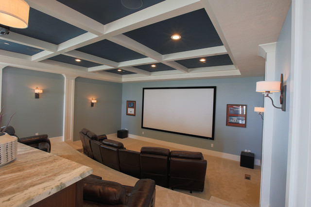 Inspiration for a large transitional open concept carpeted home theater remodel in Salt Lake City with blue walls and a projector screen