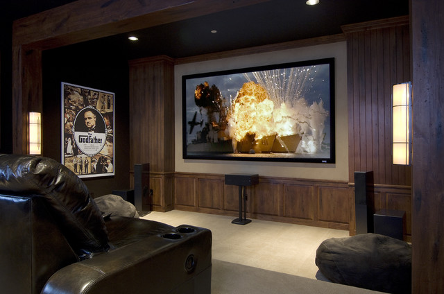 Sophisticated Cabin Theater Room Eclectic Home Theater