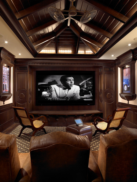 Sophisticated Key West Style eclectic-home-theater