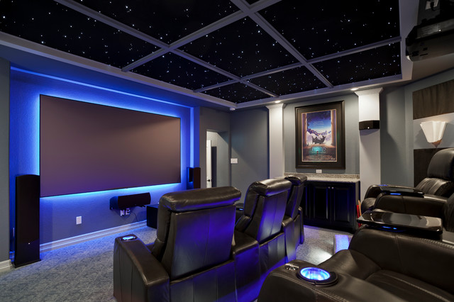 Example Of A Trendy Home Theater Design In Austin With Gray Walls