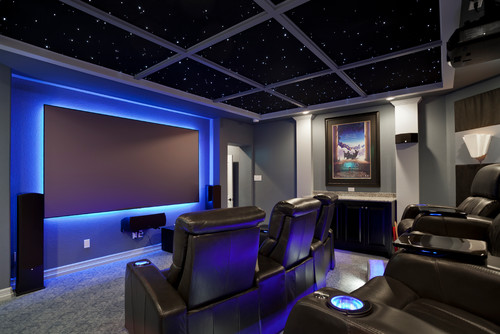 In Addition To The Use Of Led Tape Light Around Tv Screen And A Special Ceiling Treatment That Mimics Starry Sky Contemporary Media Room