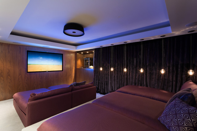 Mid Sized Contemporary Enclosed Home Theater Idea In Miami With A  Wall Mounted Tv