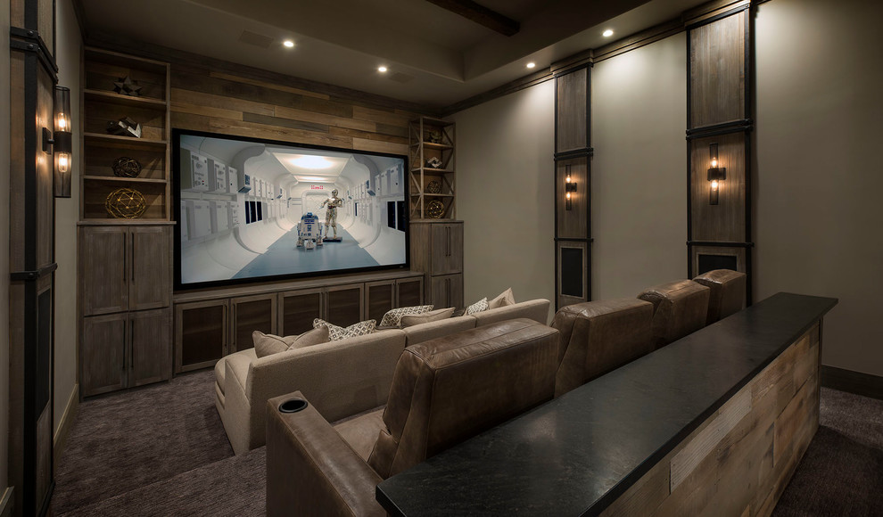 Inspiration for a mediterranean carpeted and brown floor home theater remodel in Dallas with gray walls
