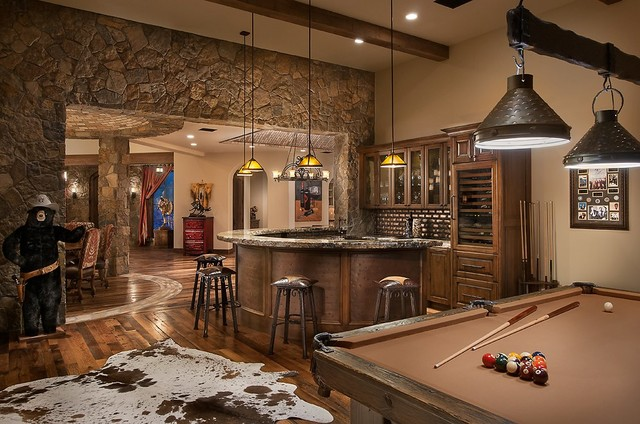Southwestern Ranch Traditional Home Theater Phoenix
