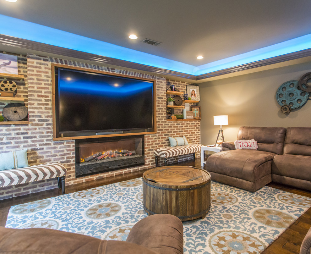 Inspiration for an industrial home theater remodel in Atlanta