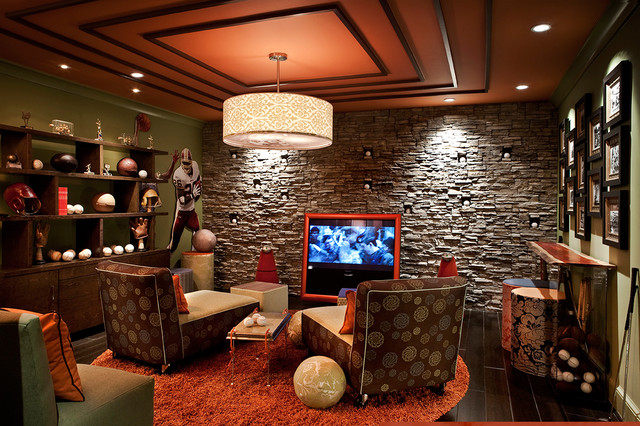 Sports Themed Media Room eclectic media room