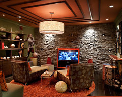 Sports Themed Media Room transitional-home-theater