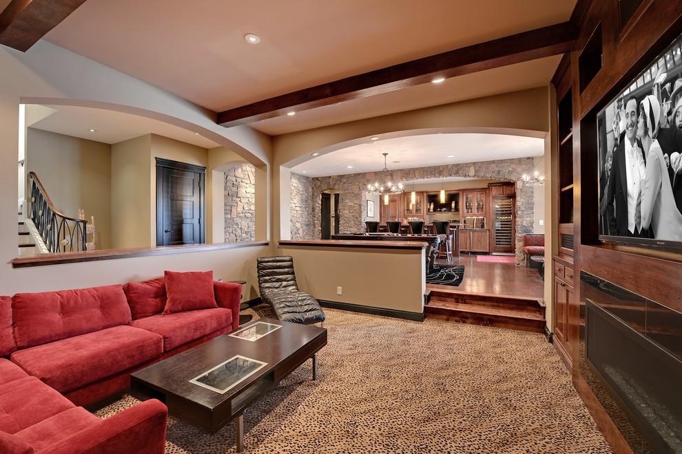 Foto de cine en casa abierto, clásico, con suelo multicolor