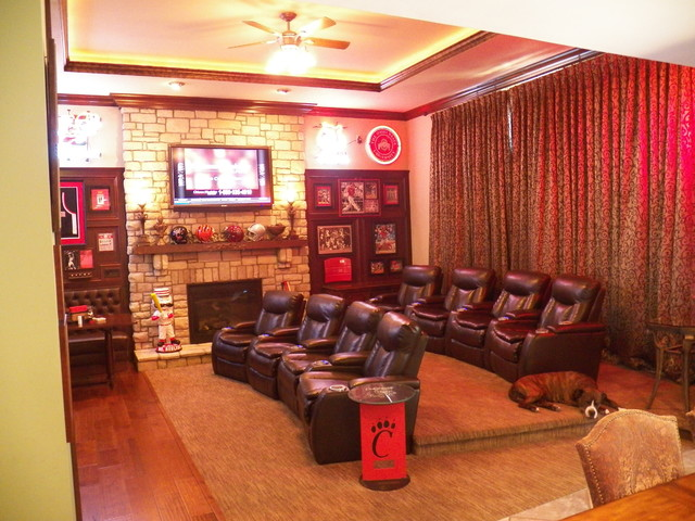 Stunning Bridgetown Sports Bar...in the Family Room! traditional-home-theater