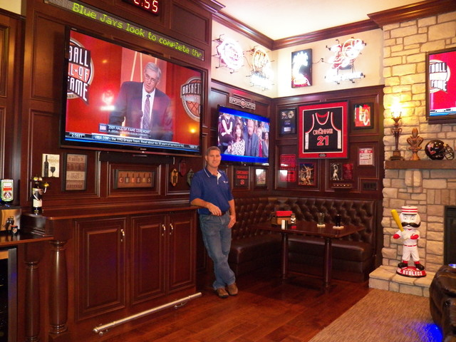Stunning Sports Bar in Great Room traditional-home-theater