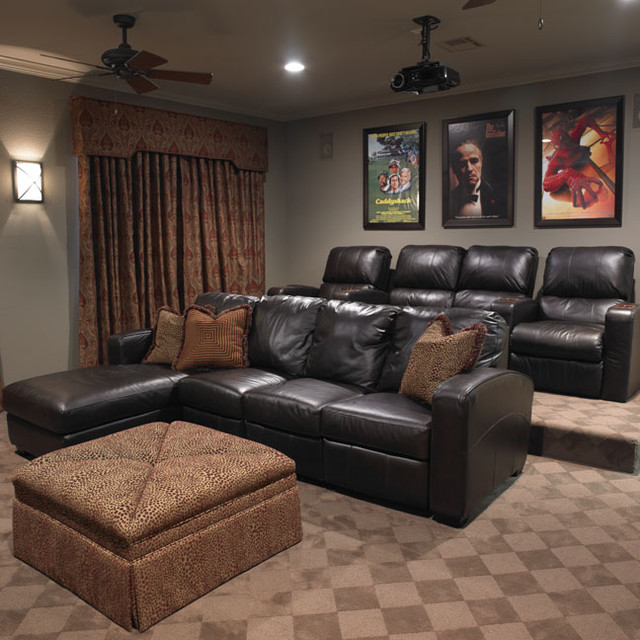 Small Home Theater Room Design: Temple Texas Traditional Home