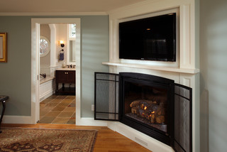 I love the corner fireplace and built-in tv overhead!