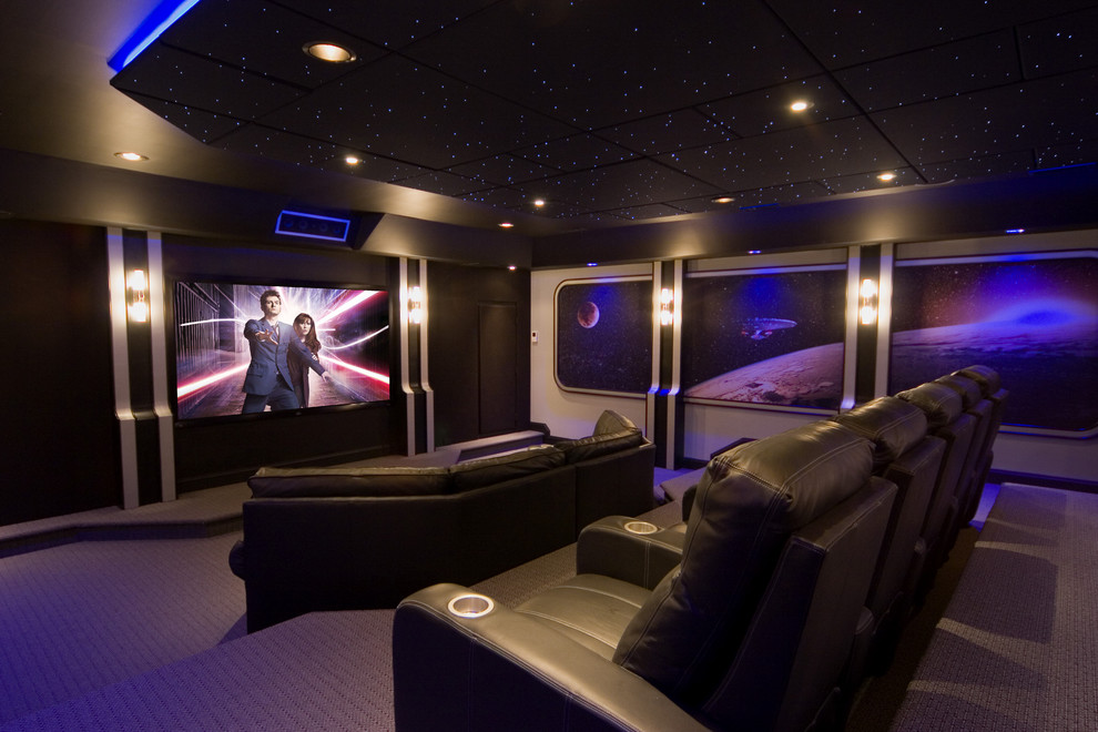 Inspiration for a contemporary enclosed purple floor home theater remodel in DC Metro