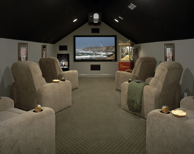 Home theatre seating attic room 4 interiors for Bonus room ideas