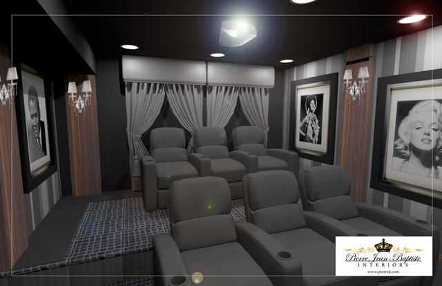 Media Rooms With Grey Room Ornament