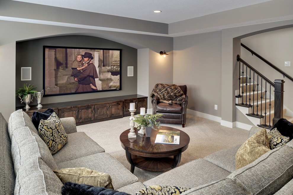 Transitional home theater photo in Minneapolis