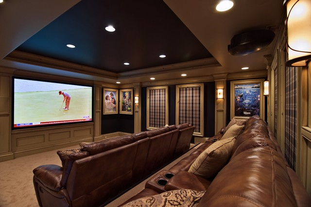 traditional media room by Will Waibel