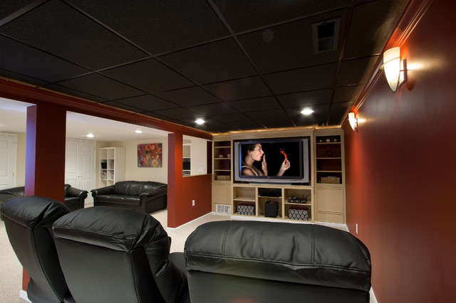 Theater room in a small basement remodel traditional for Home theater basement design ideas