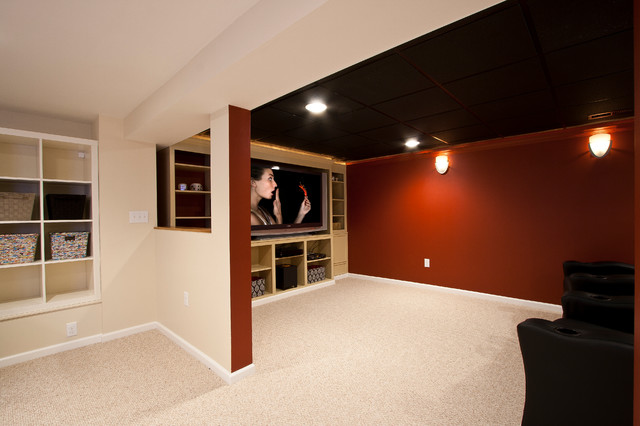 theater room in a small basement remodel traditional