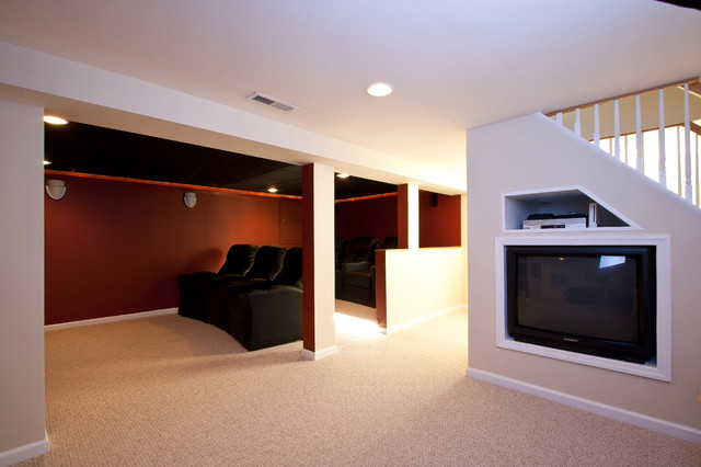 theater room in a small basement remodel traditional home theater