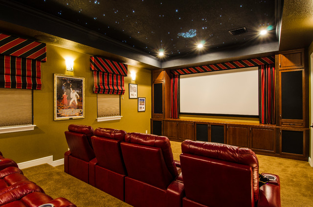 Theater Room With Full Home Automation Traditional