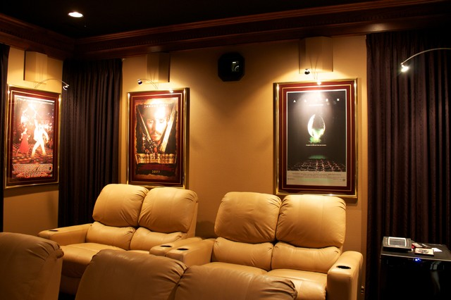 Theater room with hidden projector
