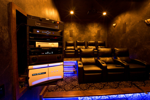 Theater room with slide out rack contemporary home theatre other by bluespeed av - Home theater cabinet design ...