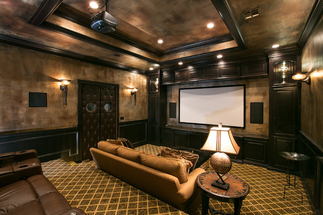 High Quality Theatre Room Mediterranean Home Theater