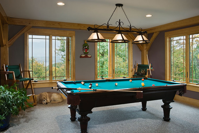 Timber Frame Billiard Room Contemporary Home Theater