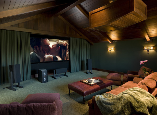 Traditional Beach House beach-style-home-theater