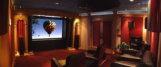 Traditional Burgundy Amp Gold Home Theater